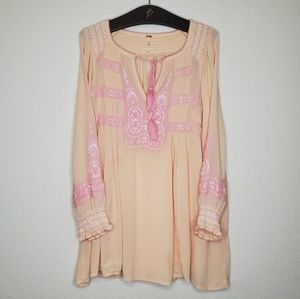 Free People Wind Willow Peach & Pink Boho Dress